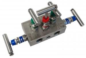 5 valve stainless thread to thread manifold, block style