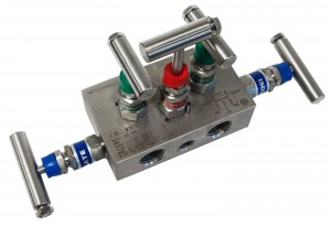 5 valve stainless thread to thread manifold, block style